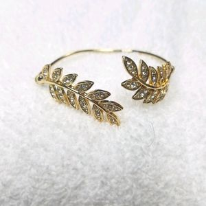 Anthropologie Gold Adjustable Leaf Cuff Bracelet